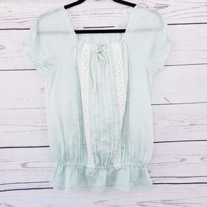 LINK IT ALL Mint Green Puff Sleeve Babydoll Blouse